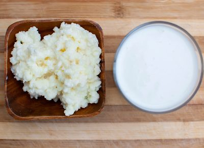 probiotic kefir drink made of milk and tibetan mushroom grains